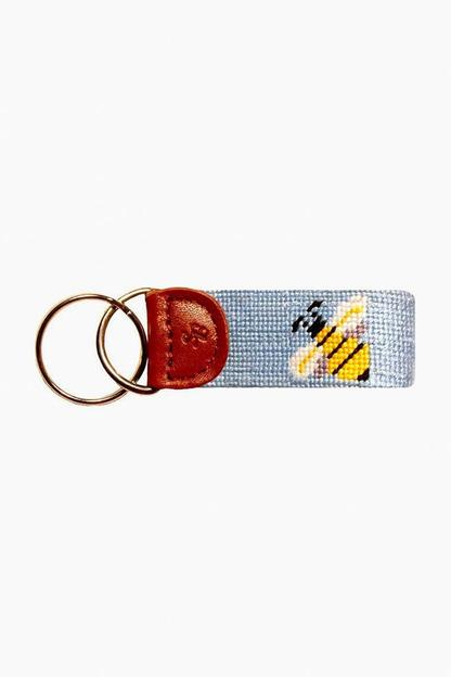 bumble bee needlepoint key fob