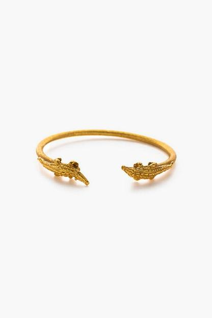 alligator gold open bangle