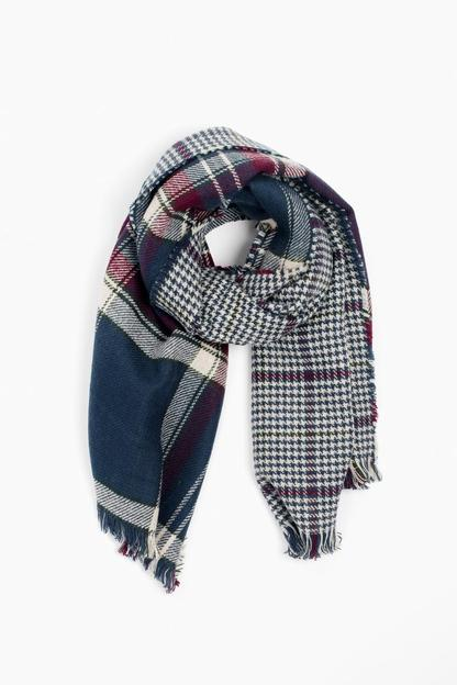 barbour navy reversible plaid wrap