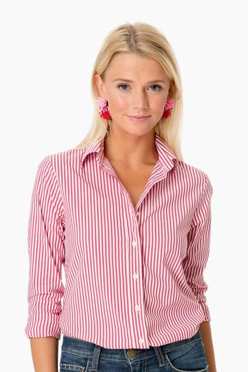 the exclusive red striped essential icon shirt