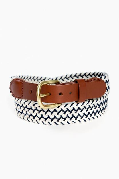 newport navy natural macrame tab & buckle belt