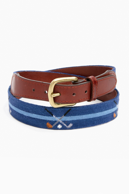Classic Navy Crossed Clubs Needlepoint Belt