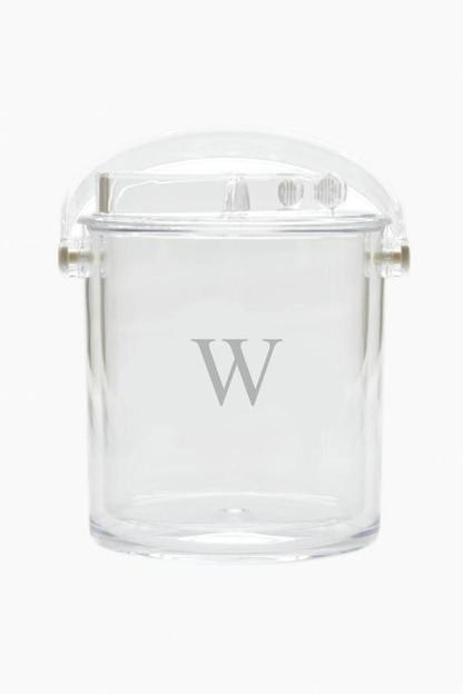 monogrammed acrylic ice bucket with tongs
