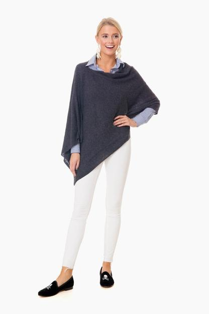 charcoal cashmere draped dress topper