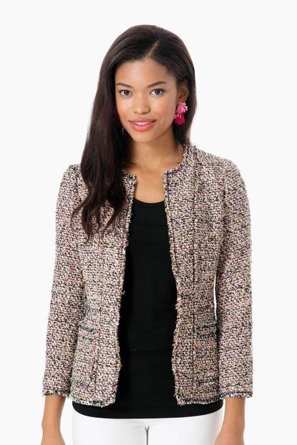 pink combo multi tweed jacket