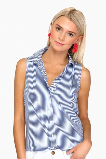 the blue wide stripe sleeveless essential icon shirt