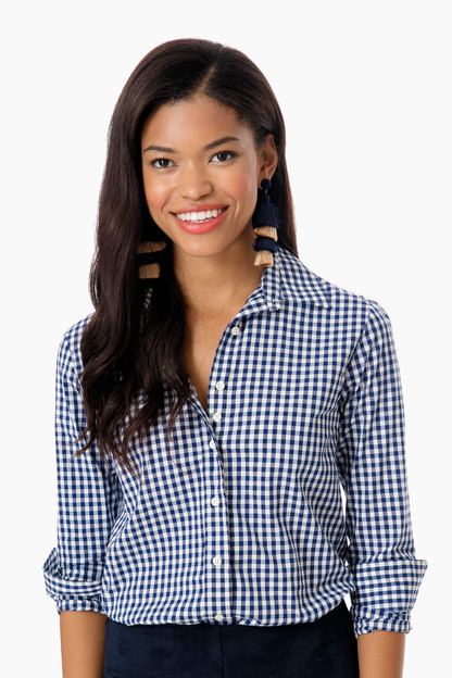 the exclusive navy check essential icon shirt