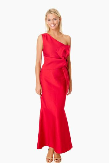 scarlet red retrograde gown
