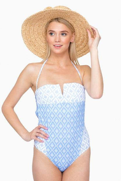 blue louisa bustier rivage one piece