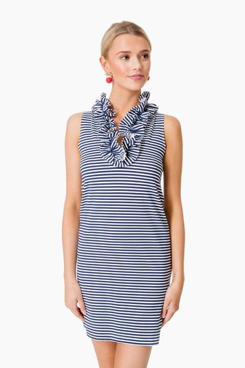 navy striped sleeveless skipper dress