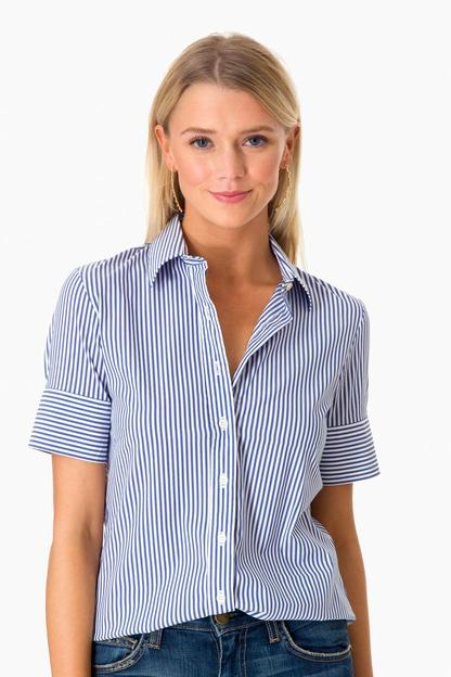 exclusive blue striped short sleeve icon shirt