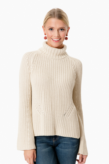french vanilla bell sleeve shaker turtleneck