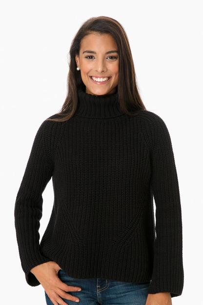 black bell sleeve shaker turtleneck