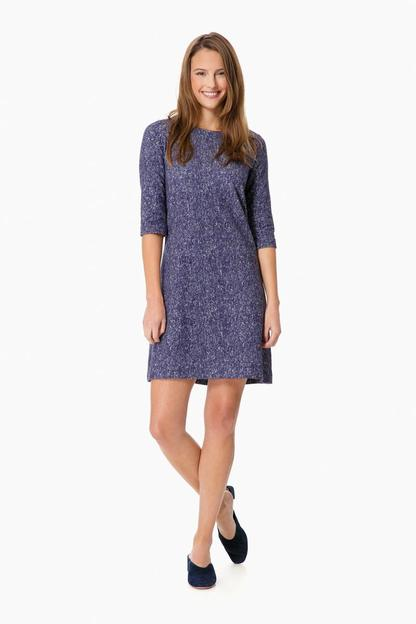 blue marine tweed fleece dress