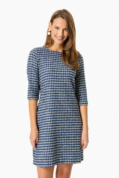 vichy wool cotton jersey dress