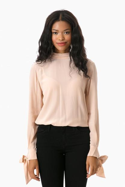 french nude silk aurora blouse