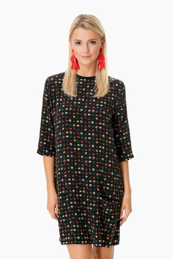 true black floral silk aubrey dress