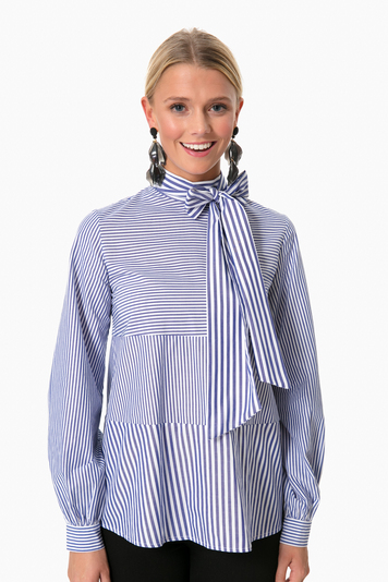 navy striped livia top