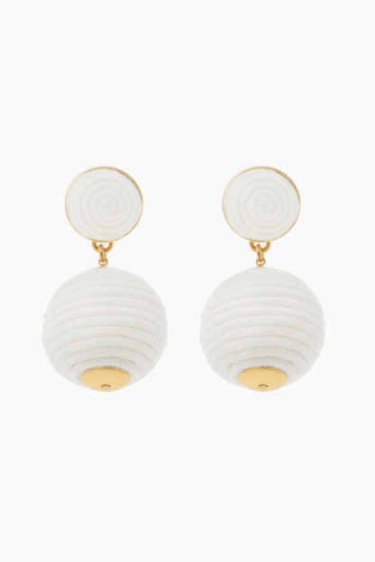 white petite woven lantern earrings