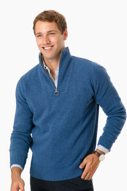 barbour chambray nelson essential half-zip