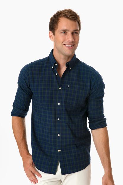 barbour navy dalton button down