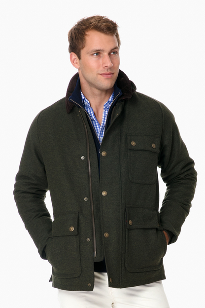 barbour olive huntroyde wool jacket