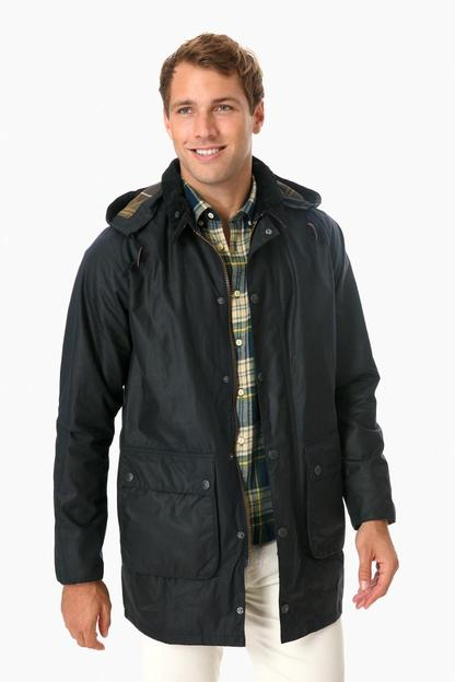 barbour navy leighton wax jacket