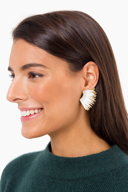 white and gold mini madeline earrings