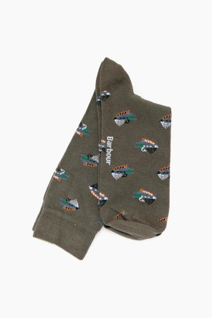 barbour olive fly fish socks