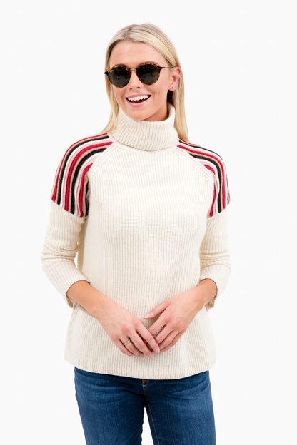 vintage white structured turtleneck