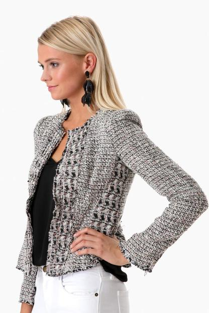 black combo mixed tweed jacket