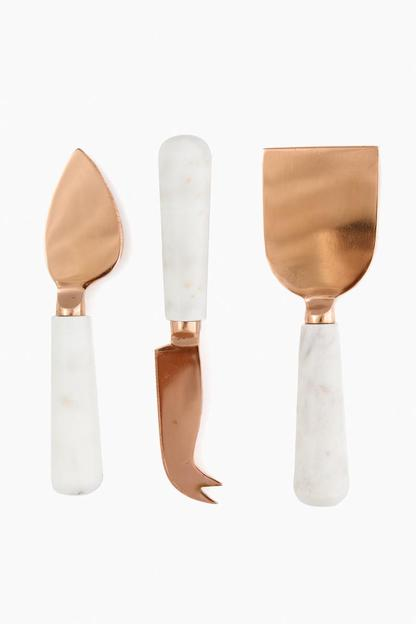 Marble and Copper Cheese Knives