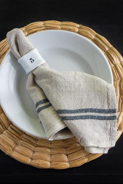 natural and white laundered linen napkins set of 4