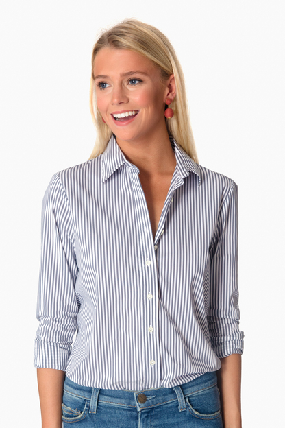 Gunmetal Wide Stripe Essential Button Down