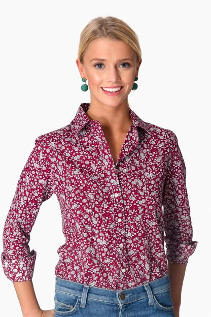 berry floral essential button down