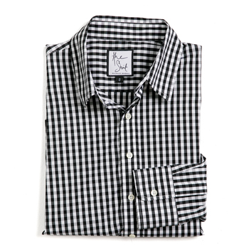 black wide gingham essential button down