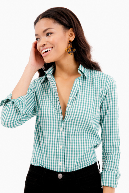 hunter green wide gingham essential button down