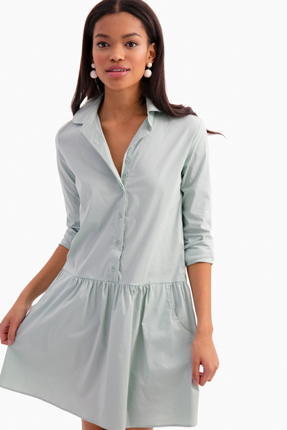sage green popover dress