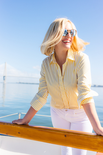 yellow wide stripe essential button down