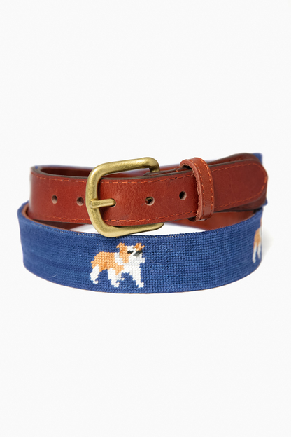 exclusive navy bulldog needlepoint belt