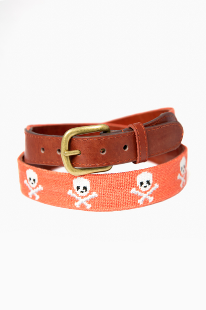 exclusive coral jolly roger needlepoint belt