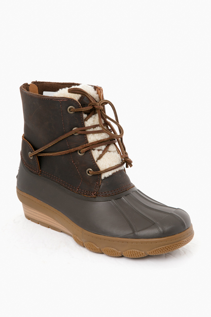Brown Saltwater Wedge Tide Shearling Duck Boot