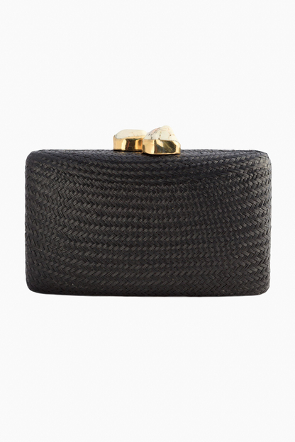 black jen clutch with white stones