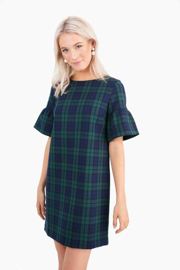 deep bay blackwatch flutter sleeve dress