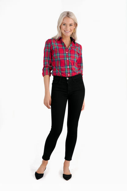 lighthouse red jolly plaid classic button down