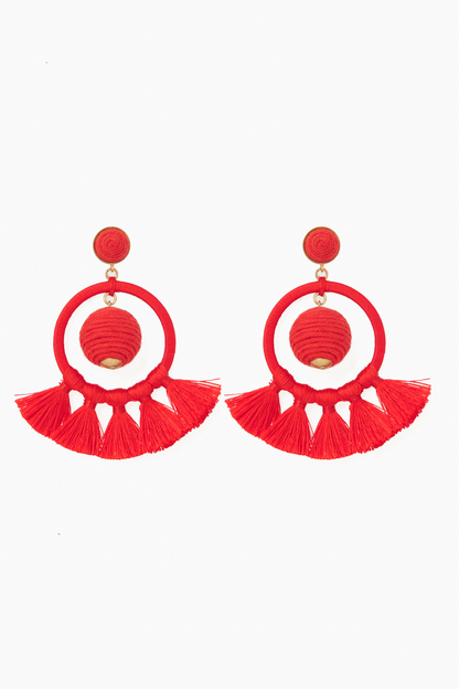 red dreamcatcher earrings