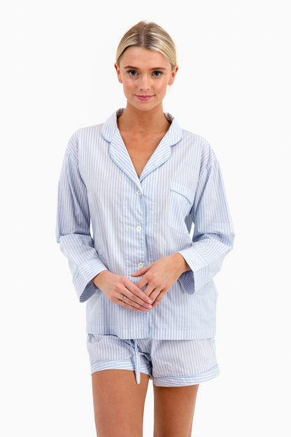 arctic blue striped shorts pj set