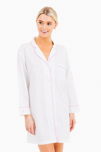 classic night shirt white with peony piping