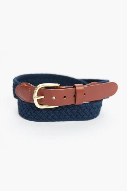 navy macrame tab & buckle belt