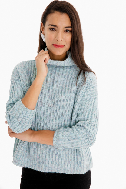 Ribbed Tourmaline Heather Pullover